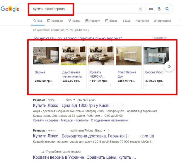 Реклама Google Shoping